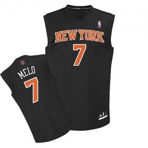 New York Knicks Carmelo Anthony #7 Melo Fashion Authentic Maillot d'équipe de NBA - Noir pour Homme