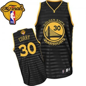 Maillot NBA Golden State Warriors #30 Stephen Curry Gris noir Adidas Authentic Groove 2015 The Finals Patch - Femme