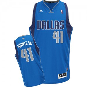 Maillot NBA Bleu royal Dirk Nowitzki #41 Dallas Mavericks Road Swingman Enfants Adidas