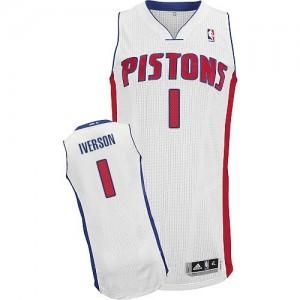 Maillot Adidas Blanc Home Authentic Detroit Pistons - Allen Iverson #1 - Homme