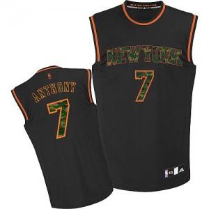 New York Knicks Carmelo Anthony #7 Fashion Authentic Maillot d'équipe de NBA - Camo noir pour Homme