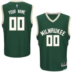 Maillot NBA Vert Authentic Personnalisé Milwaukee Bucks Road Enfants Adidas