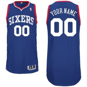 Maillot NBA Bleu royal Authentic Personnalisé Philadelphia 76ers Alternate Homme Adidas