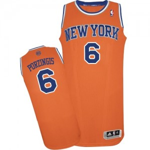Maillot Adidas Orange Alternate Authentic New York Knicks - Kristaps Porzingis #6 - Homme