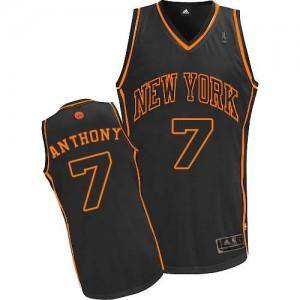 New York Knicks #7 Adidas Fashion Noir / Orange Authentic Maillot d'équipe de NBA Remise - Carmelo Anthony pour Homme