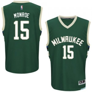 Maillot Authentic Milwaukee Bucks NBA Road Vert - #15 Greg Monroe - Homme