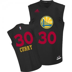 Maillot NBA Golden State Warriors #30 Stephen Curry Noir Adidas Authentic New Fashion - Homme