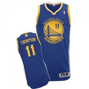Maillot NBA Golden State Warriors #11 Klay Thompson Bleu royal Adidas Authentic Road - Femme