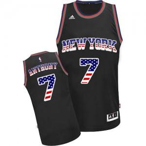 New York Knicks #7 Adidas USA Flag Fashion Noir Authentic Maillot d'équipe de NBA Remise - Carmelo Anthony pour Homme