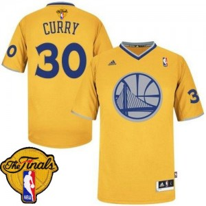 Maillot NBA Swingman Stephen Curry #30 Golden State Warriors 2013 Christmas Day 2015 The Finals Patch Or - Homme
