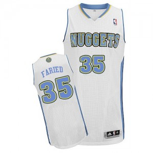 Maillot Adidas Blanc Home Authentic Denver Nuggets - Kenneth Faried #35 - Homme