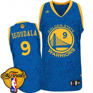 Maillot NBA Authentic Andre Iguodala #9 Golden State Warriors Crazy Light 2015 The Finals Patch Bleu - Homme