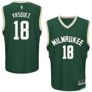 Maillot Adidas Vert Road Authentic Milwaukee Bucks - Greivis Vasquez #18 - Homme