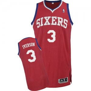Maillot NBA Philadelphia 76ers #3 Allen Iverson Rouge Adidas Authentic Road - Homme