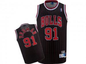Maillot NBA Noir Rouge Dennis Rodman #91 Chicago Bulls Throwback Authentic Homme Nike