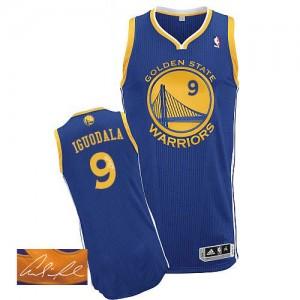 Golden State Warriors Andre Iguodala #9 Road Autographed Authentic Maillot d'équipe de NBA - Bleu royal pour Homme