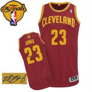 Cleveland Cavaliers LeBron James #23 Road Autographed 2015 The Finals Patch Authentic Maillot d'équipe de NBA - Vin Rouge pour Homme
