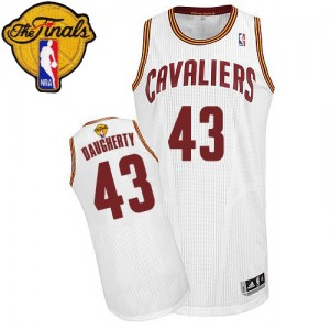 Maillot Authentic Cleveland Cavaliers NBA Home 2015 The Finals Patch Blanc - #43 Brad Daugherty - Homme