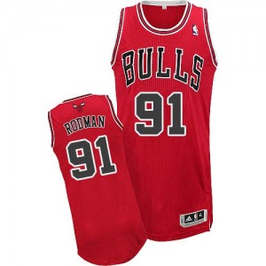 Maillot NBA Authentic Dennis Rodman #91 Chicago Bulls Road Rouge - Homme