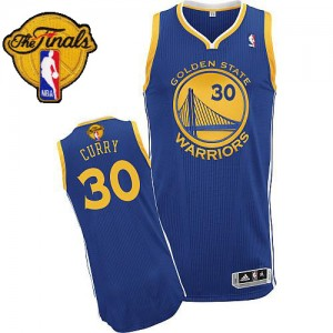 Golden State Warriors Stephen Curry #30 Road 2015 The Finals Patch Authentic Maillot d'équipe de NBA - Bleu royal pour Homme