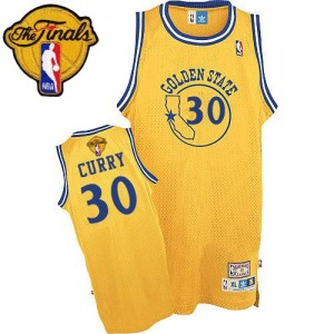 Maillot NBA Or Stephen Curry #30 Golden State Warriors Throwback 2015 The Finals Patch Authentic Enfants Adidas