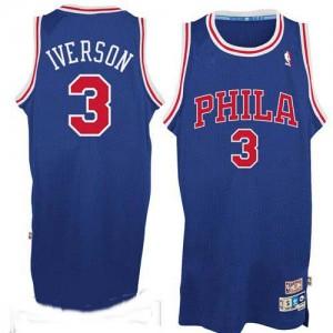 Philadelphia 76ers #3 Adidas Throwack Bleu / Rouge Authentic Maillot d'équipe de NBA Magasin d'usine - Allen Iverson pour Homme