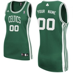 Maillot NBA Boston Celtics Personnalisé Swingman Vert (No Blanc) Adidas Road - Femme