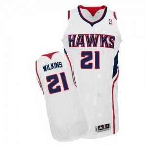 Maillot NBA Blanc Dominique Wilkins #21 Atlanta Hawks Home Authentic Homme Adidas