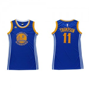 Maillot NBA Golden State Warriors #11 Klay Thompson Bleu Adidas Authentic Dress - Femme