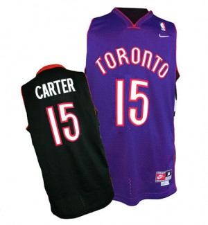 Maillot Authentic Toronto Raptors NBA Throwback Noir / Violet - #15 Vince Carter - Homme
