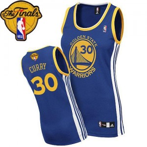 Golden State Warriors #30 Adidas Road 2015 The Finals Patch Bleu royal Authentic Maillot d'équipe de NBA Remise - Stephen Curry pour Femme