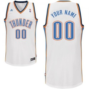 Maillot Adidas Blanc Home Oklahoma City Thunder - Swingman Personnalisé - Enfants
