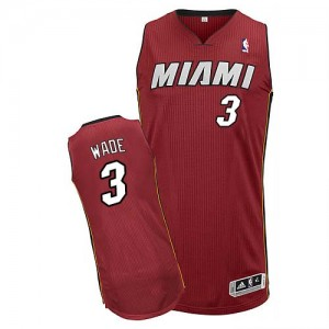 Maillot Adidas Rouge Alternate Authentic Miami Heat - Dwyane Wade #3 - Homme