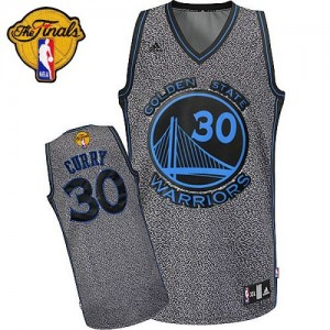 Maillot NBA Golden State Warriors #30 Stephen Curry Gris Adidas Authentic Static Fashion 2015 The Finals Patch - Femme