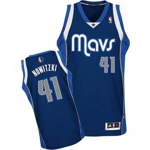 Maillot NBA Dallas Mavericks #41 Dirk Nowitzki Bleu marin Adidas Authentic Alternate - Enfants
