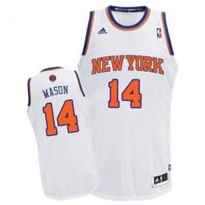 New York Knicks #14 Adidas Home Blanc Swingman Maillot d'équipe de NBA Magasin d'usine - Anthony Mason pour Homme
