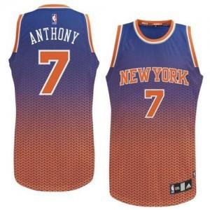 Maillot Adidas Bleu Resonate Fashion Authentic New York Knicks - Carmelo Anthony #7 - Homme