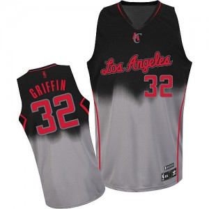 Maillot Adidas Gris noir Fadeaway Fashion Authentic Los Angeles Clippers - Blake Griffin #32 - Homme