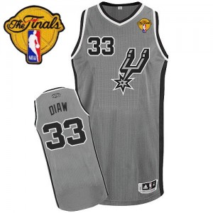 Maillot NBA San Antonio Spurs #33 Boris Diaw Gris argenté Adidas Authentic Alternate Finals Patch - Homme