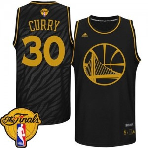 Golden State Warriors Stephen Curry #30 Precious Metals Fashion 2015 The Finals Patch Swingman Maillot d'équipe de NBA - Noir pour Homme