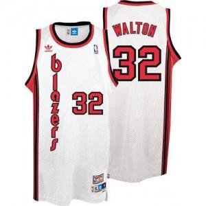 Maillot NBA Portland Trail Blazers #32 Bill Walton Blanc Adidas Authentic Throwback - Homme