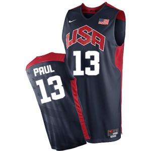 Team USA #13 Nike 2012 Olympics Bleu marin Authentic Maillot d'équipe de NBA Soldes discount - Chris Paul pour Homme