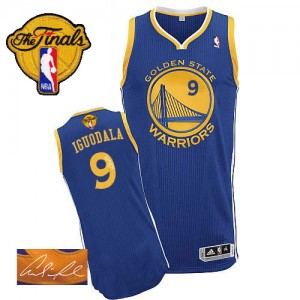 Maillot Adidas Bleu royal Road Autographed 2015 The Finals Patch Authentic Golden State Warriors - Andre Iguodala #9 - Homme