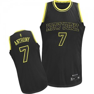 Maillot Adidas Noir Electricity Fashion Authentic New York Knicks - Carmelo Anthony #7 - Homme