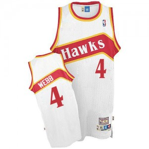 Atlanta Hawks #4 Adidas Throwback Blanc Authentic Maillot d'équipe de NBA en vente en ligne - Spud Webb pour Homme
