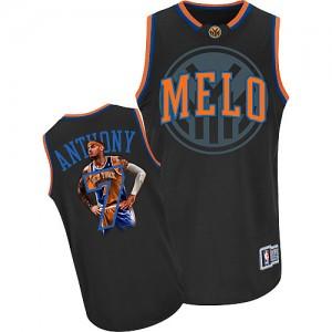 New York Knicks Carmelo Anthony #7 Notorious Swingman Maillot d'équipe de NBA - Noir pour Homme