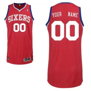 Maillot NBA Philadelphia 76ers Personnalisé Authentic Rouge Adidas Road - Homme