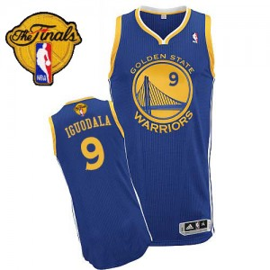 Maillot Adidas Bleu royal Road 2015 The Finals Patch Authentic Golden State Warriors - Andre Iguodala #9 - Homme
