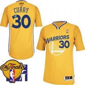 Maillot NBA Authentic Stephen Curry #30 Golden State Warriors Alternate Autographed 2015 The Finals Patch Or - Homme