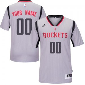 Houston Rockets Authentic Personnalisé Alternate Maillot d'équipe de NBA - Gris pour Femme